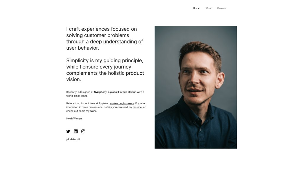Screenshot of the website Noah Warren