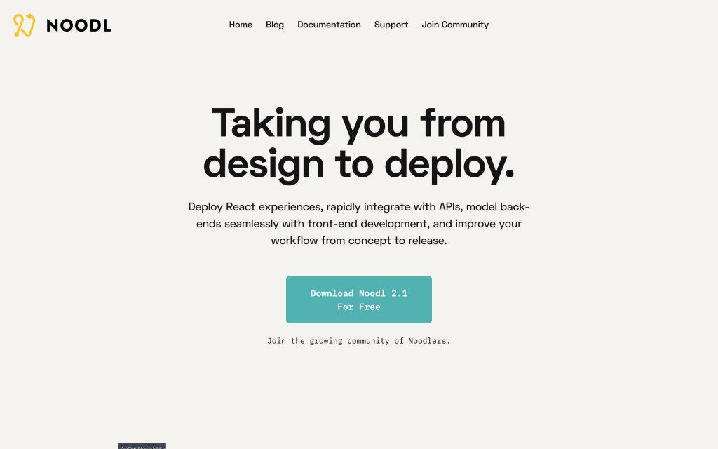 Screenshot of the website Noodl