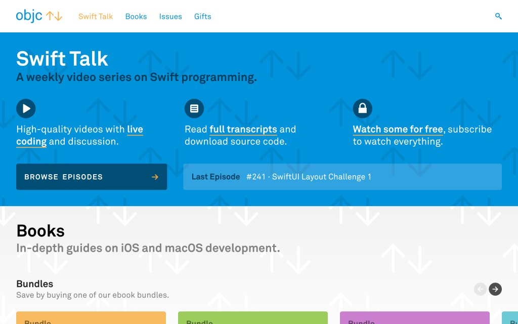Screenshot of the website objc