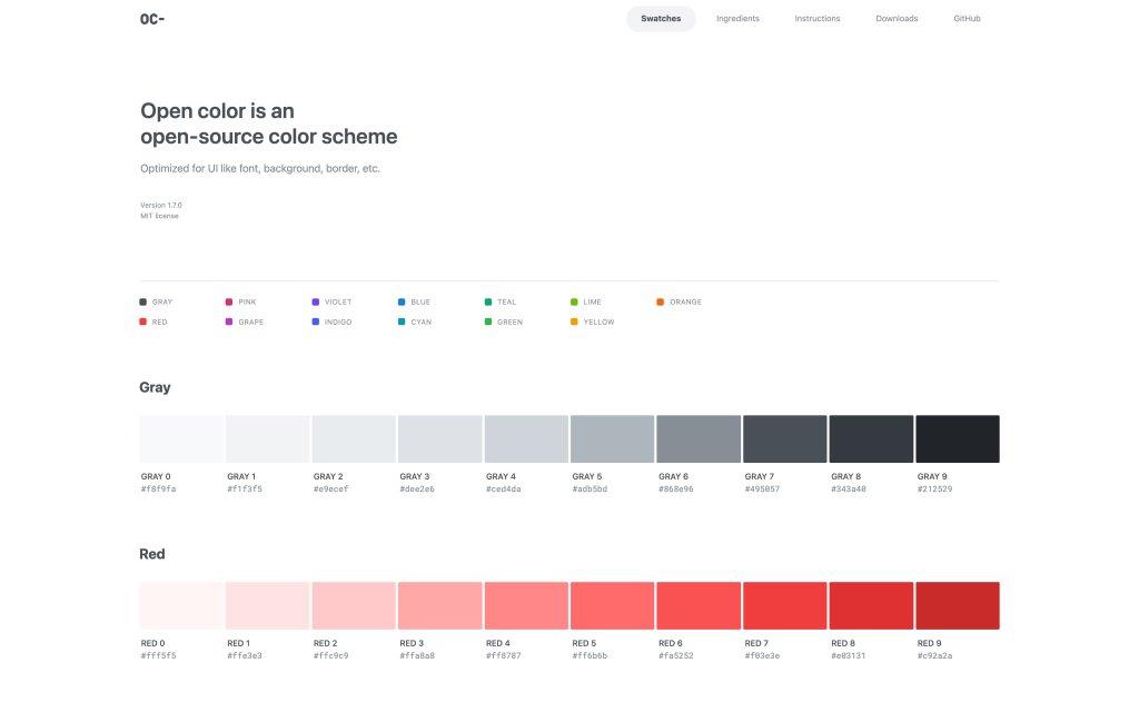 Screenshot of the website Open Color