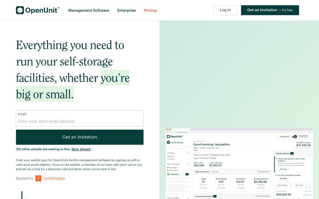 Screenshot of the website OpenUnit