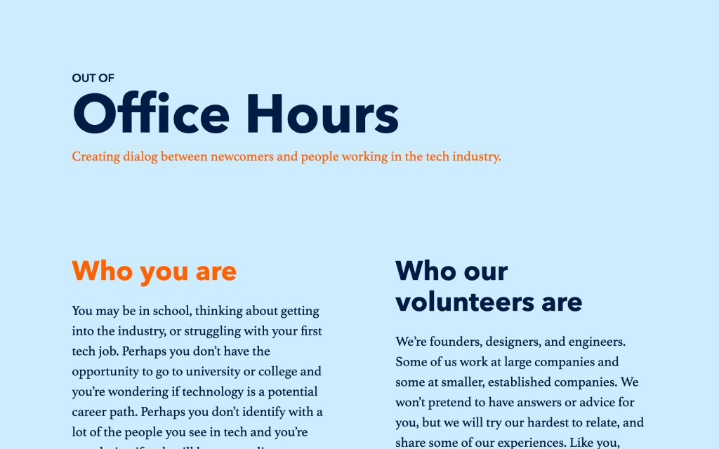 Screenshot of the website Out of Office Hours