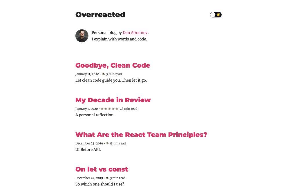 Screenshot of the website Overreacted