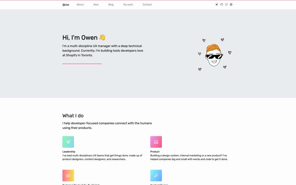 Screenshot of the website Owen Williams