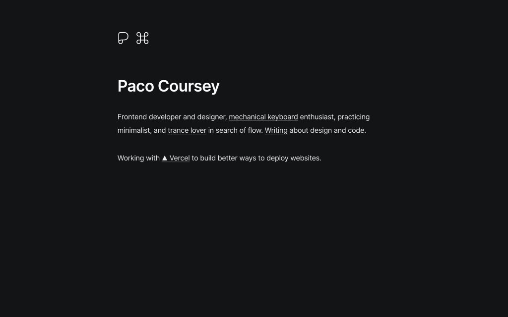 Screenshot of the website Paco Coursey