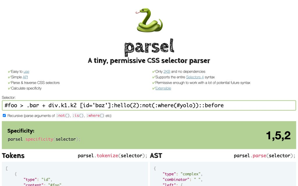 Screenshot of the website Parsel