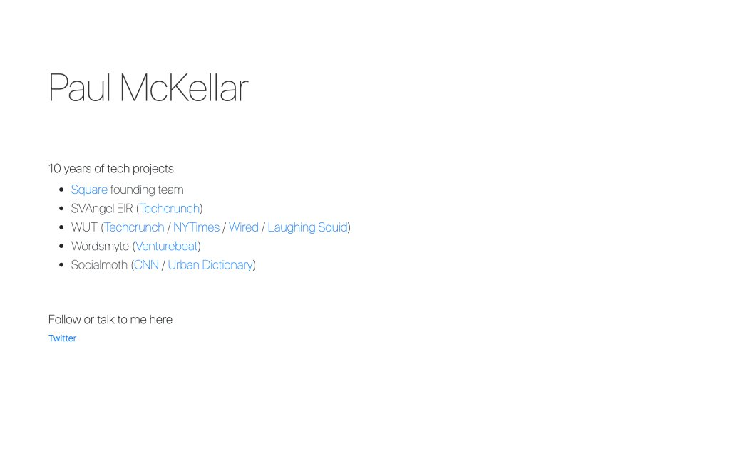 Screenshot of the website Paul McKellar