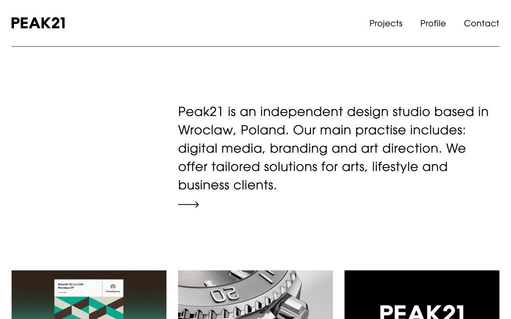 Screenshot of the website Peak21
