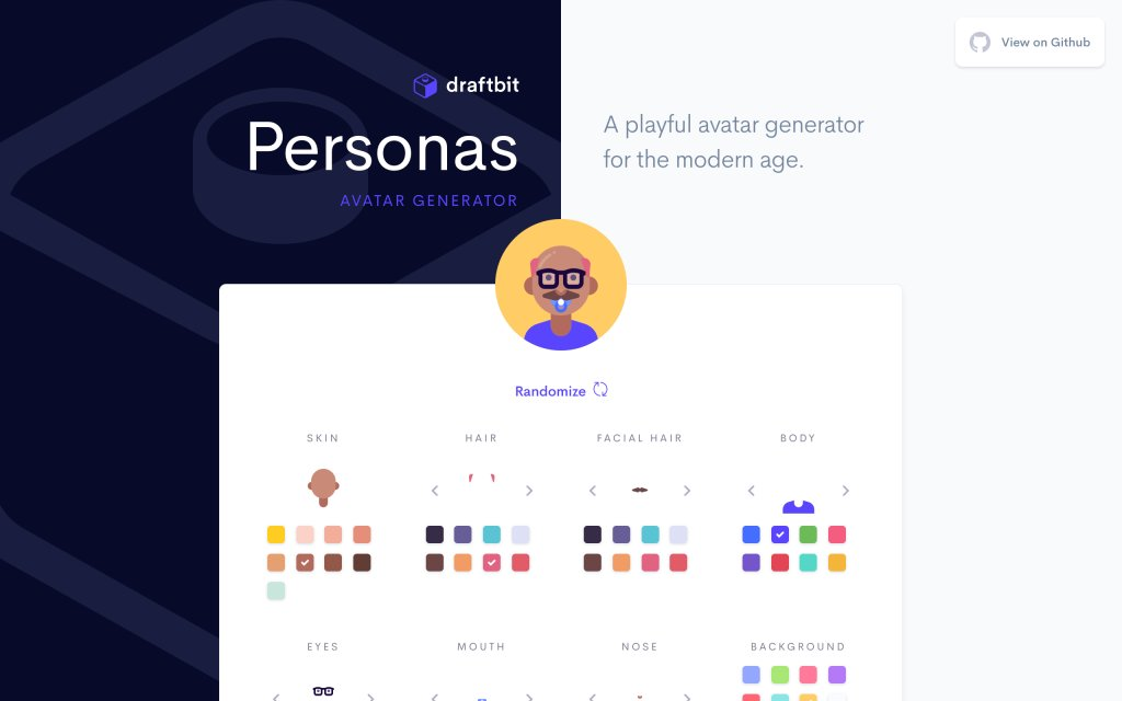 Screenshot of the website Personas