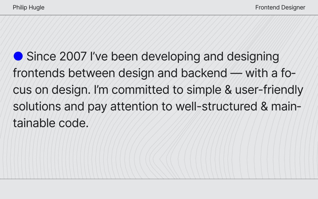 Screenshot of the website Philip Hugle