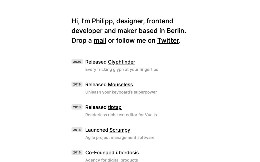 Screenshot of the website Philipp Kühn