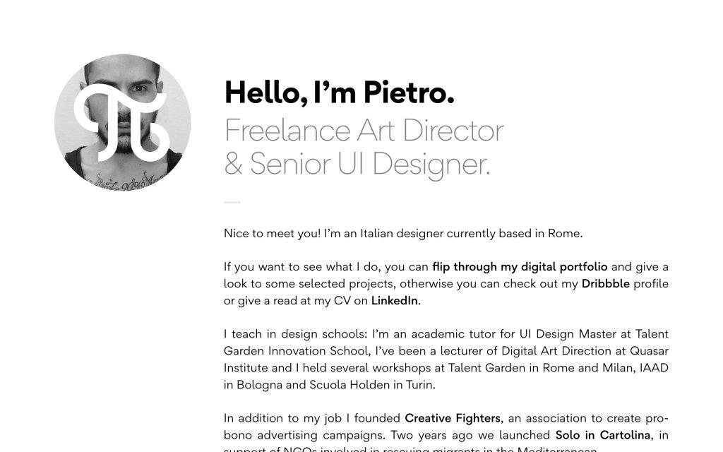 Screenshot of the website Pietro Gregorini