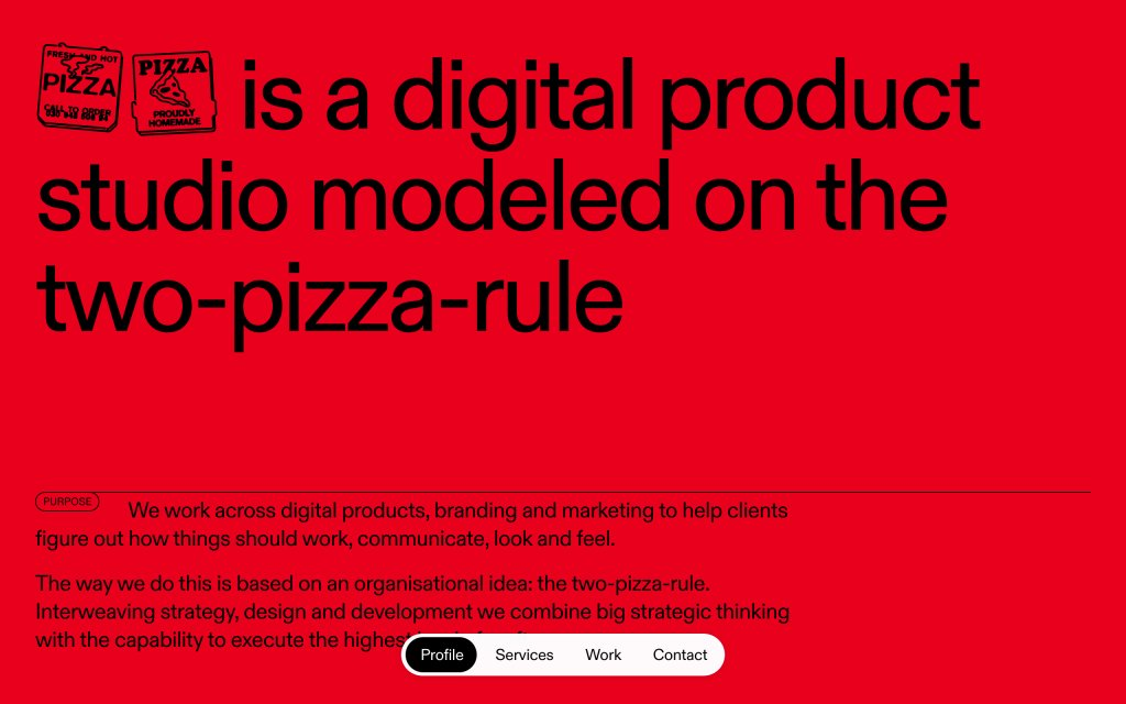 Screenshot of the website Pizza Pizza
