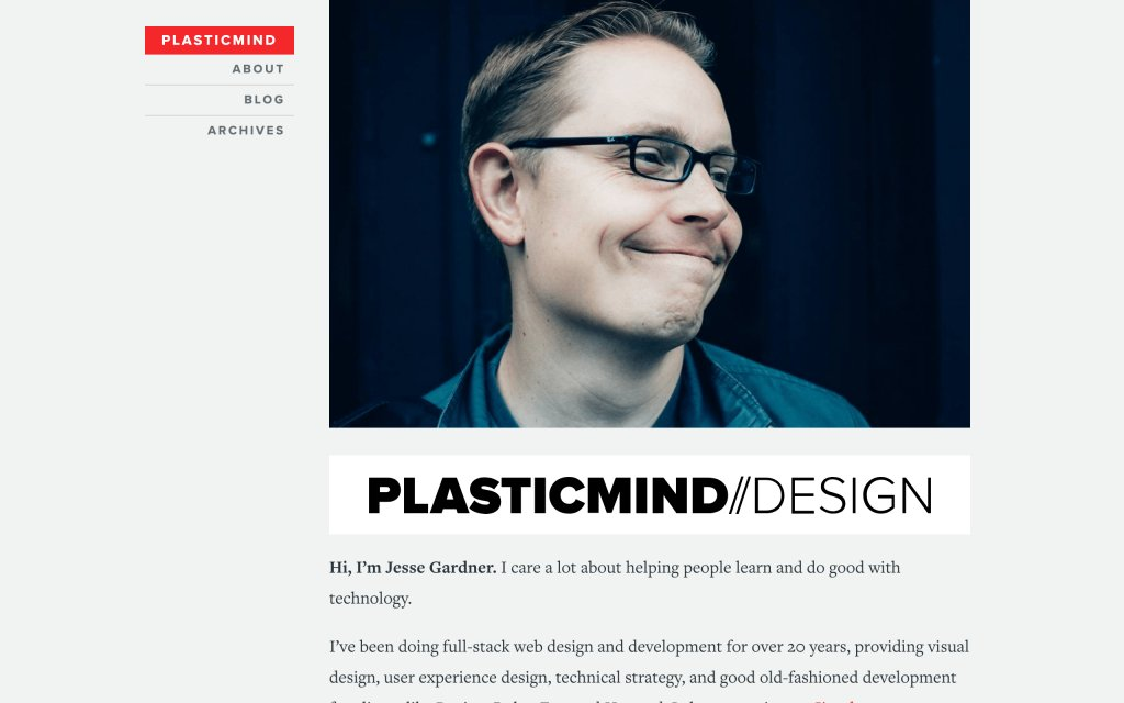 Screenshot of the website Plasticmind Design