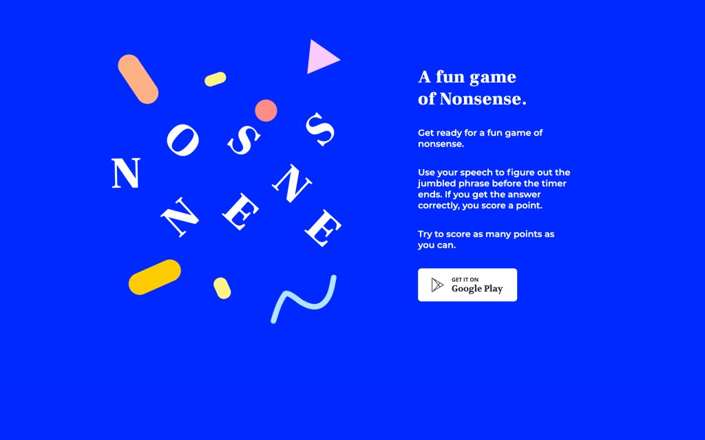 Screenshot of the website Play Nonsense