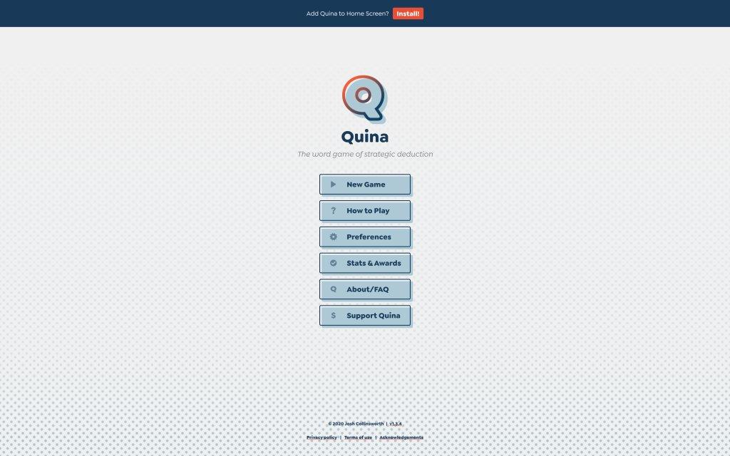 Screenshot of the website Quina