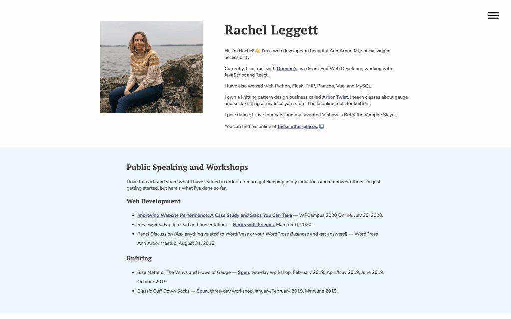 Screenshot of the website Rachel Leggett