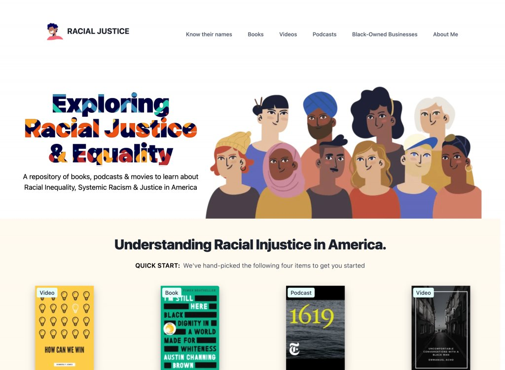 Screenshot of the website Racial Justice in America
