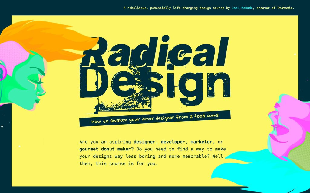 Screenshot of the website Radical Design