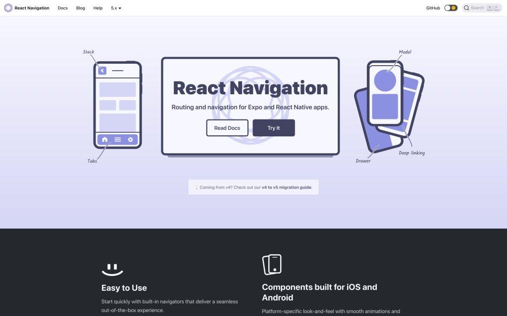 Screenshot of the website React Navigation