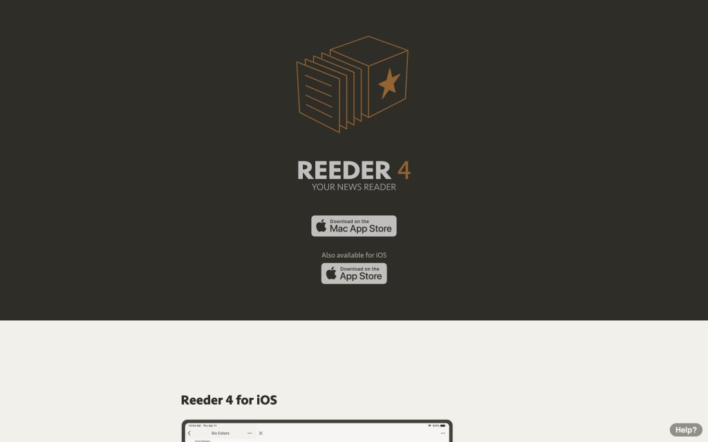 Screenshot of the website Reeder App