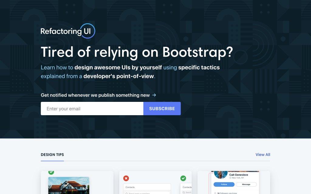 Screenshot of the website Refactoring UI