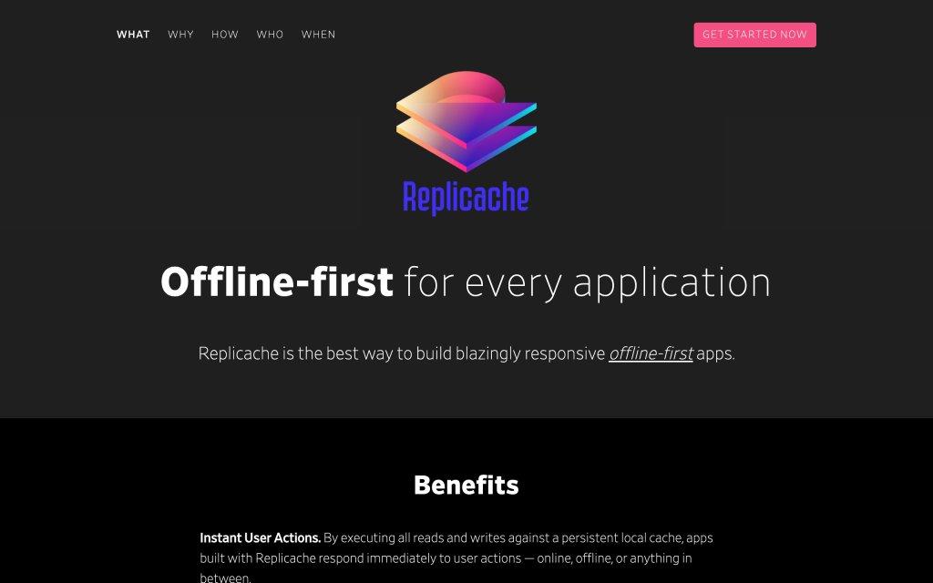 Screenshot of the website Replicache