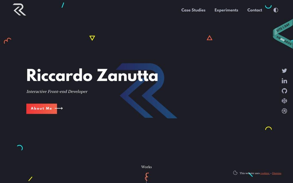 Screenshot of the website Riccardo Zanutta