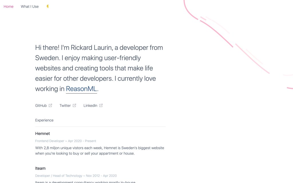 Screenshot of the website Rickard Laurin