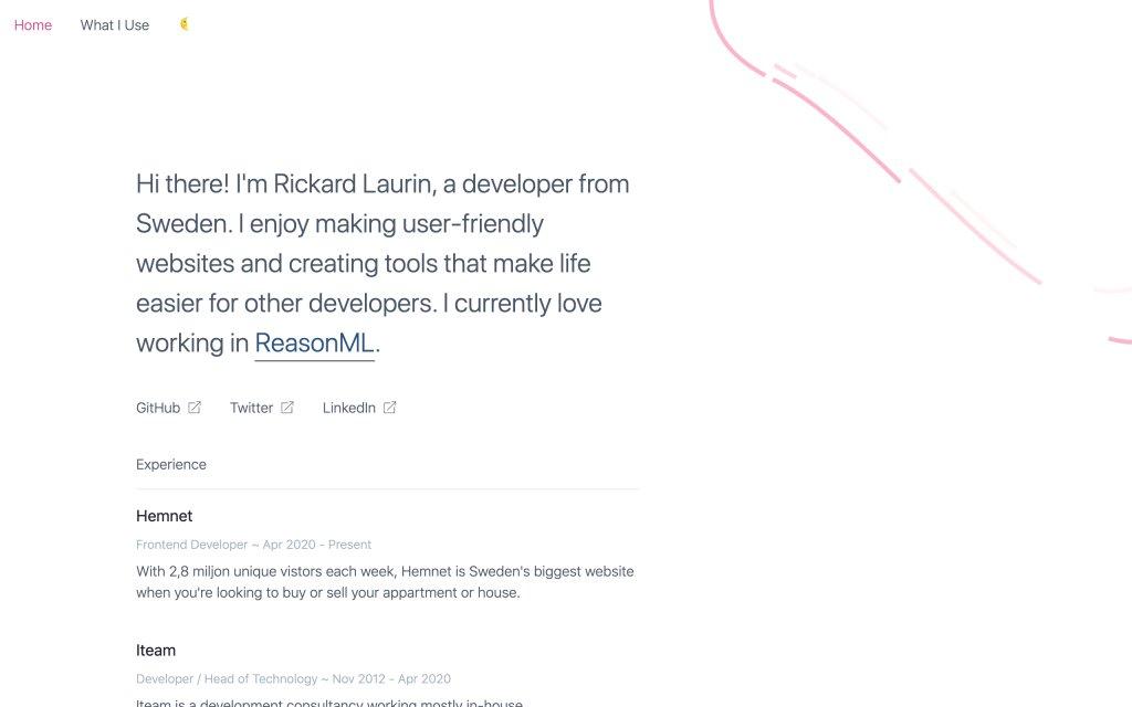 Screenshot of the website Rickard Laurin