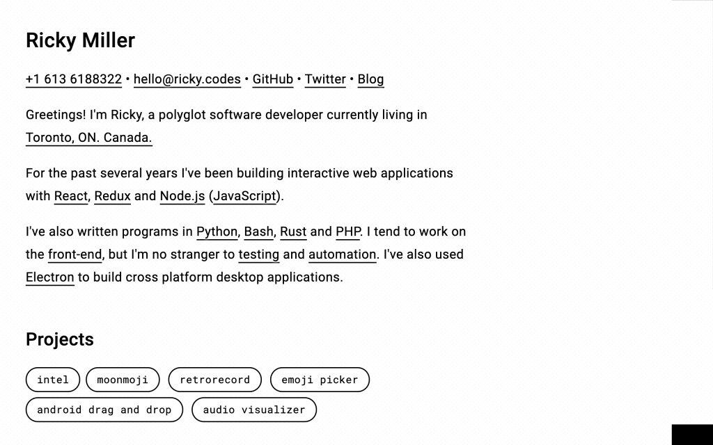 Screenshot of the website Ricky Miller