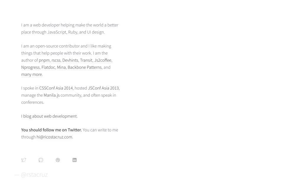 Screenshot of the website Rico Sta. Cruz