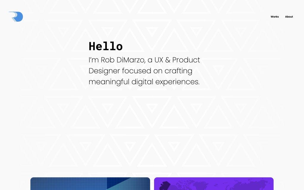 Screenshot of the website Rob DiMarzo