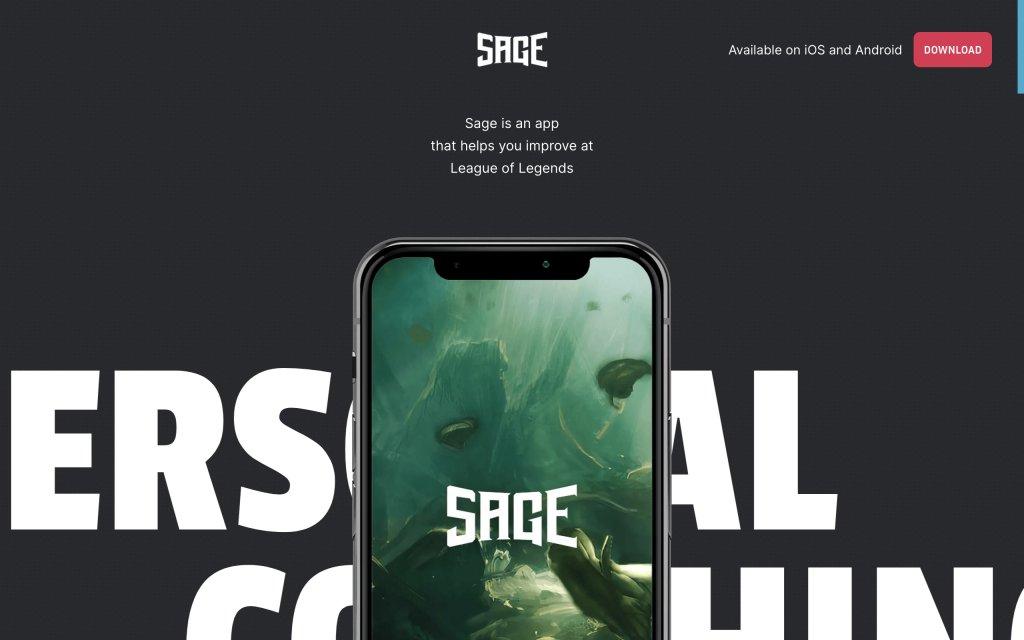 Screenshot of the website Sage App