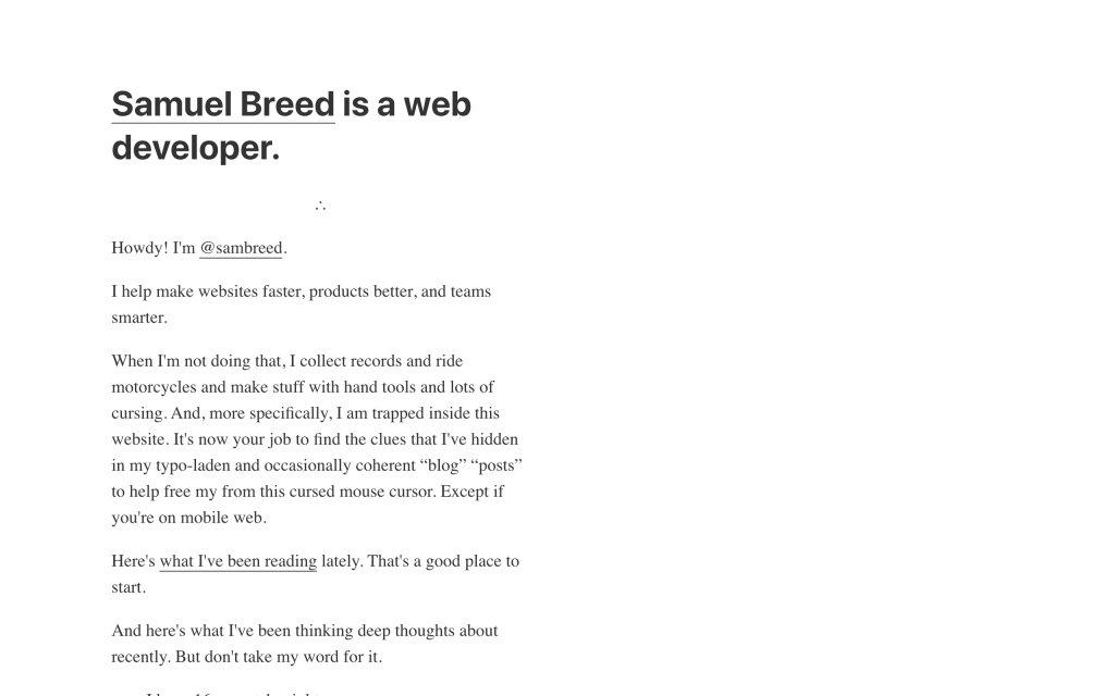 Screenshot of the website Samuel Breed