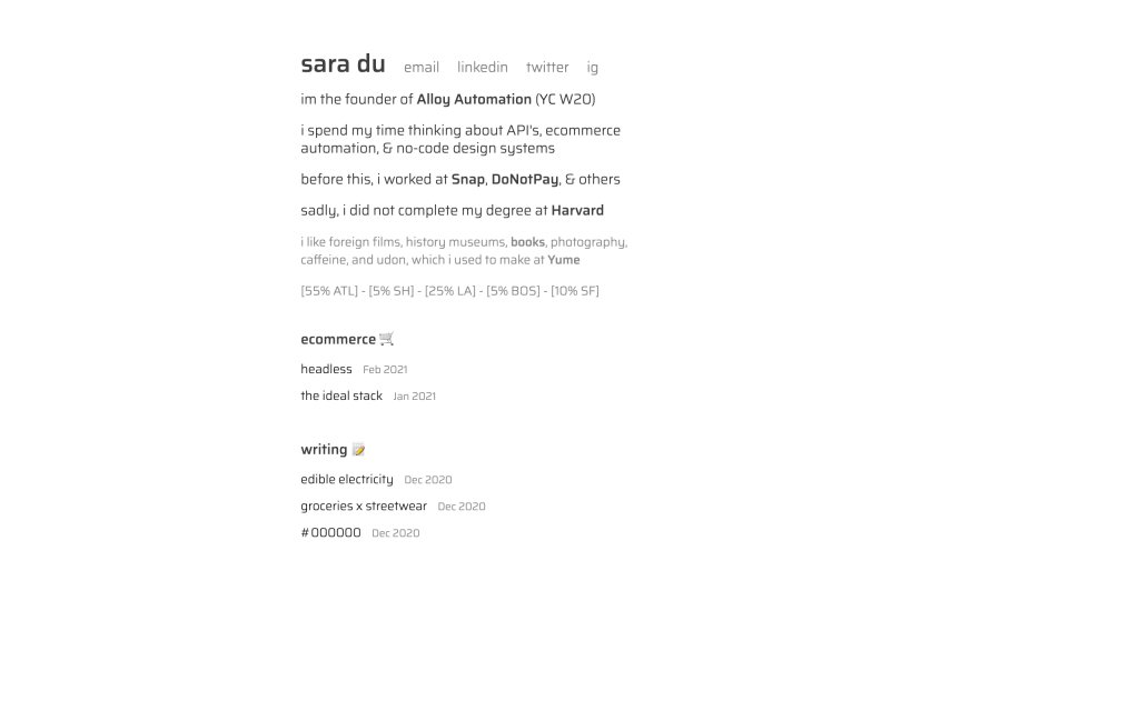 Screenshot of the website Sara Du
