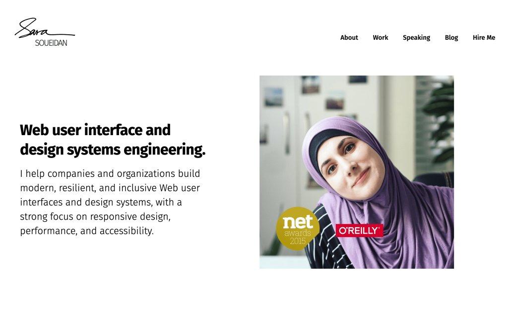 Screenshot of the website Sara Soueidan