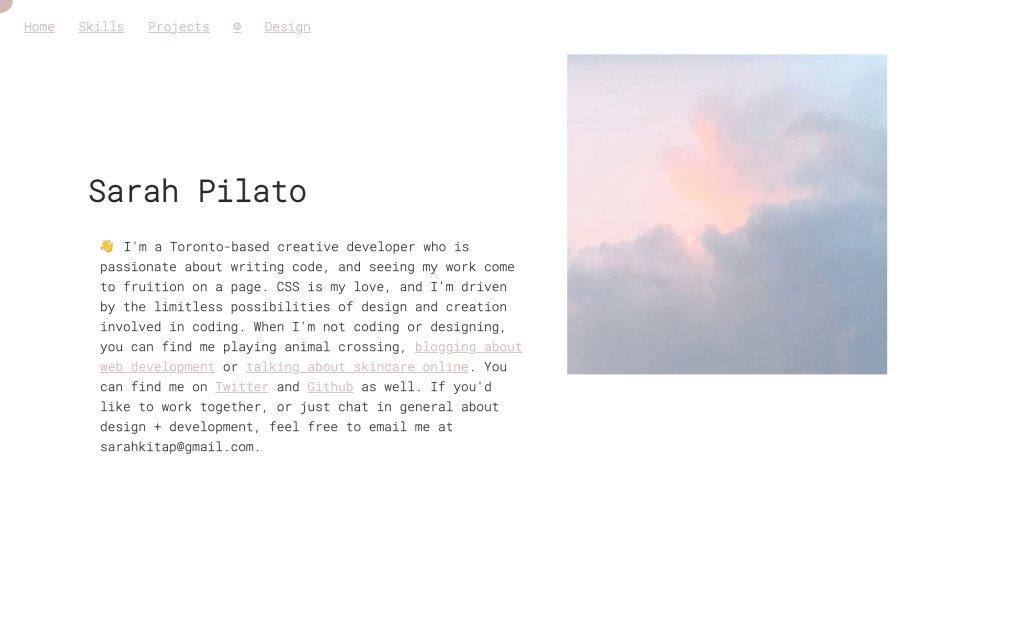 Screenshot of the website Sarah Pilato