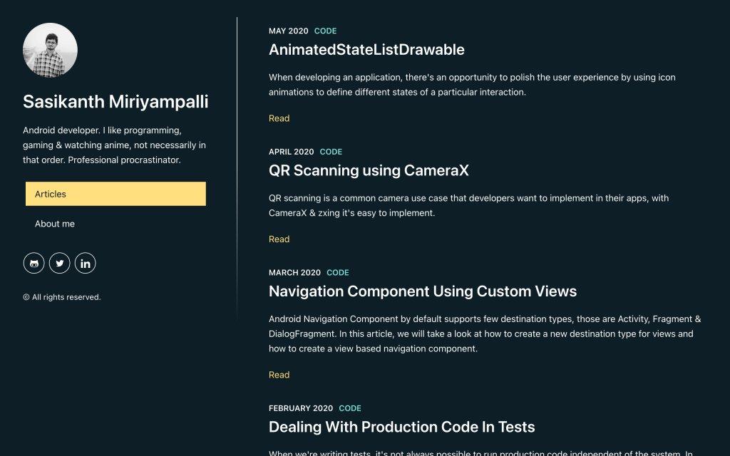 Screenshot of the website Sasikanth Miriyampalli