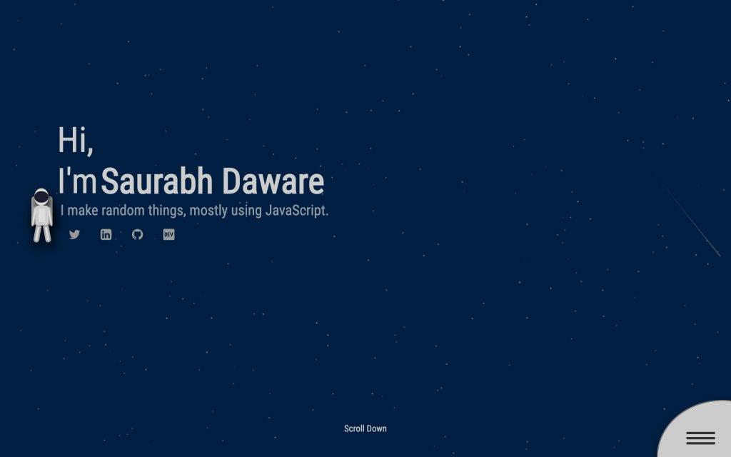 Screenshot of the website Saurabh Daware