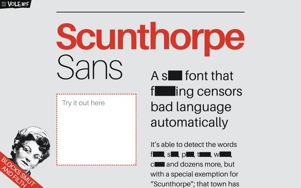Screenshot of the website Scunthorpe Sans