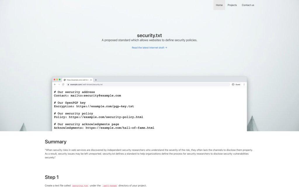 Screenshot of the website security.txt