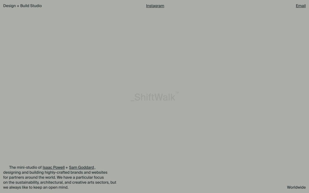 Screenshot of the website ShiftWalk