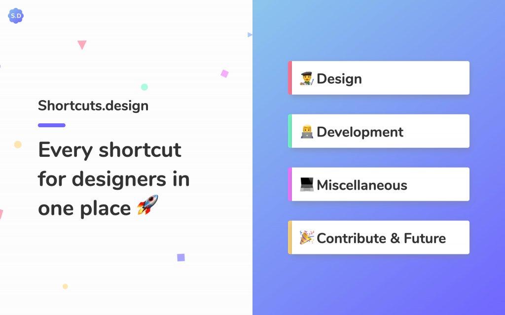 Screenshot of the website Shortcuts.design
