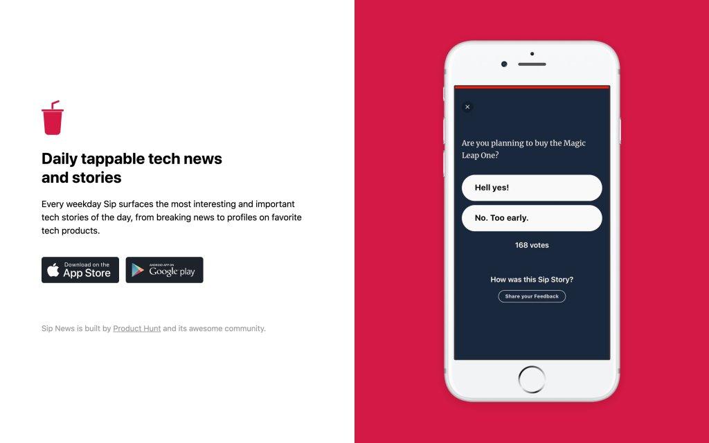 Screenshot of the website Sip News