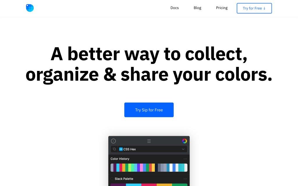 Screenshot of the website Sip App