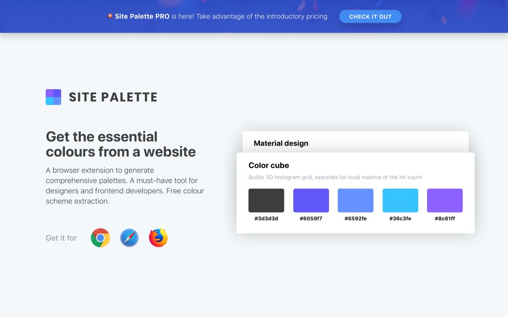 Screenshot of the website Site Palette