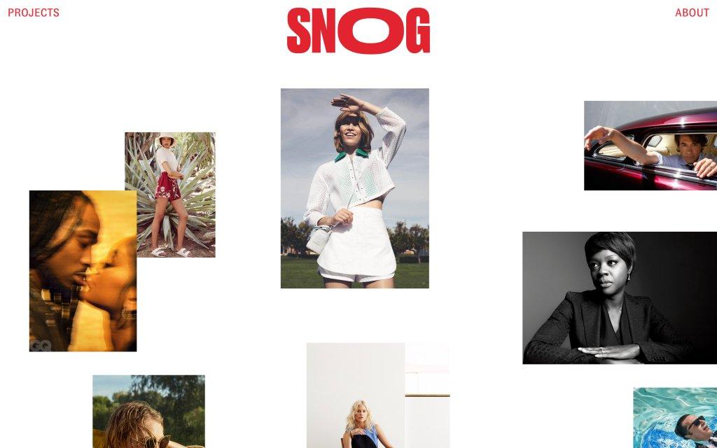 Screenshot of the website Snog Productions