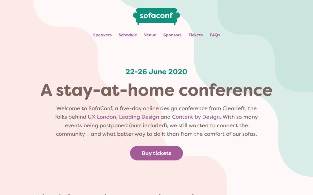 Screenshot of the website SofaConf 2020