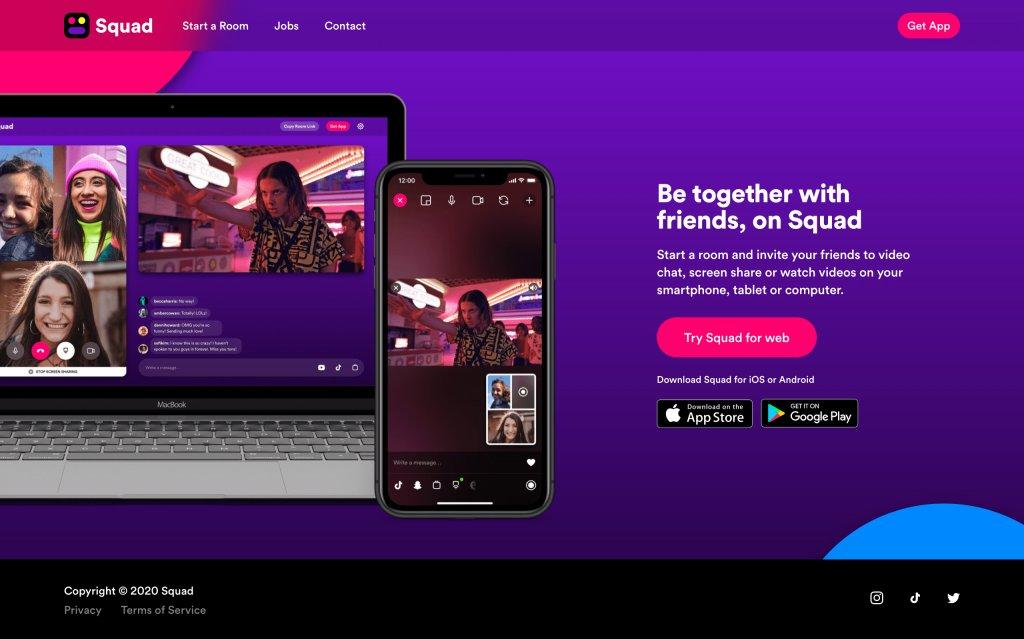 Screenshot of the website Squad